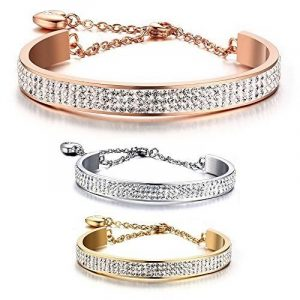 BOBIJOO Jewelry - Bracelet Jonc AcierSerti Cristaux Autrichien Strass Coeur Couleur Or Rose Gold Jaune Blanc Argent de la marque BOBIJOO Jewelry image 0 produit