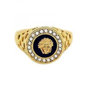 BOBIJOO Jewelry - Chevalière Bague Doré Or Fin Style Medusa Strass Faux Diamant Noir Homme Femme de la marque BOBIJOO Jewelry image 0 produit