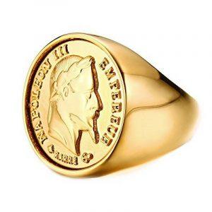 BOBIJOO Jewelry - Chevalière Bague Dorée Or Fin Massive Ronde Pièce 20 Francs NAPOLEON Tête Laurée de la marque BOBIJOO Jewelry image 0 produit