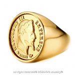 BOBIJOO Jewelry - Chevalière Bague Dorée Or Fin Massive Ronde Pièce 20 Francs NAPOLEON Tête Laurée de la marque BOBIJOO Jewelry image 1 produit