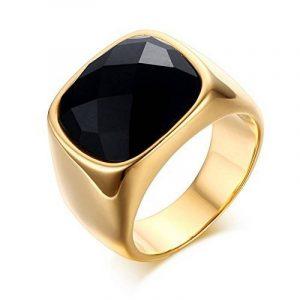 BOBIJOO Jewelry - Chevalière Bague Pierre Agate Rectangulaire Noire Doré Or Fin Acier Inoxydable + de la marque BOBIJOO Jewelry image 0 produit