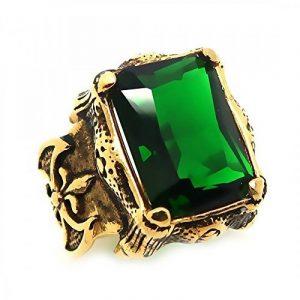 BOBIJOO Jewelry - Grosse Chevalière Bague Homme Doré Or Fin Royalisme Fleur de Lys Strass Vert Roi de la marque BOBIJOO Jewelry image 0 produit