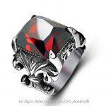 BOBIJOO Jewelry - Grosse Chevalière Bague Pierre Rouge Roi Fleur de Lys Sertie Solide Acier Inoxydable de la marque BOBIJOO Jewelry image 1 produit
