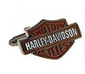 Boutons de Manchette emblème Harley Davidson Motorcycles, Plaqué Rhodium Foncé avec Gravure en Rouge de la marque Coquelicot et Coccinelle image 0 produit