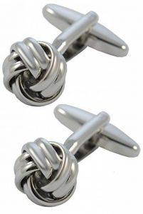 Boutons de Manchette - GRANDE QUALITÉ - Nœud - Laiton - Un Design Classique - Petit Diamètre de 12mm - Couleur Argent - Avec Boîte-Cadeau de la marque COLLAR AND CUFFS LONDON image 0 produit