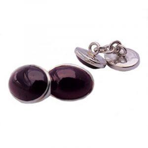 Boutons de manchette grenat en argent massif 925 - Taille des pierres 10x14mm de la marque Bijoux et Objets image 0 produit