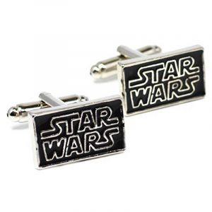 Boutons de manchette Logo Star Wars–Noir Boutons de manchette Argent Inscription de la marque Beaux Bijoux image 0 produit
