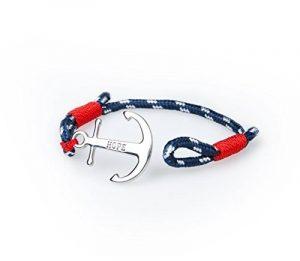 Bracelet Ancre Homme Femme Espérer Amour Chaînes Bleu Nautique Marine Cordon Braided Wrap Acier Wristband de la marque SUXNOS image 0 produit