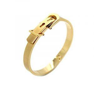 Bracelet Bijoux Jonc en forme de Ceinture largeur de 9 mm, Plaqué Or Jaune Brossé, taille réglable de la marque Splendeur d'Art® image 0 produit