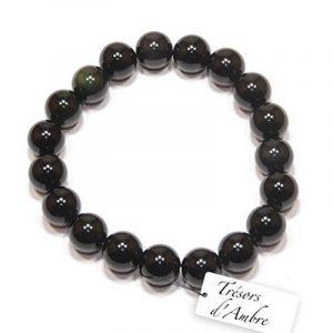 Bracelet boule en Obsidienne Oeil Céleste 10mm - Pierre Naturelle - Lithothérapie de la marque Trésors d'Ambre image 0 produit