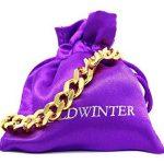 Bracelet chaîne à maillons Plaqué or jaune véritable classique épais Noir avec boîte cadeau de la marque Goldwinter image 4 produit