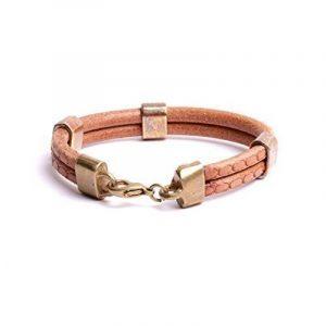 Bracelet homme cuir double jonc sculpté bijou créateur fabrication artisanal made in France de la marque by mode france image 0 produit