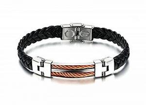 Bracelet Homme en simili cuir noir tressé avec fermoir à boucle - plaque en acier argentée avec fil en cuivre torsadé de la marque Wiz' Style image 0 produit