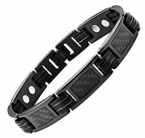 Bracelet homme femme en titane magnetique aimanté aimant fibre de carbone noir de la marque topt mag image 0 produit