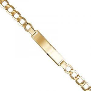 Bracelet Homme Or Jaune Véritable - Maille Gourmette - Plaque à Graver de la marque L'Atelier d'Azur image 0 produit