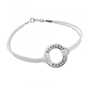 Bracelet Jeton à Graver en Argent avec Cordon Blanc! de la marque Bijoux Personnalisés image 0 produit