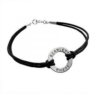 Bracelet Jeton à Graver en Argent avec Cordon Noir! de la marque Bijoux Personnalisés image 0 produit