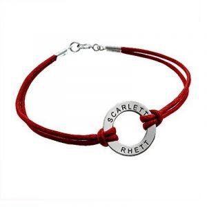 Bracelet Jeton à Graver en Argent avec Cordon Rouge! de la marque Bijoux Personnalisés image 0 produit