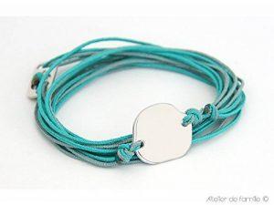 Bracelet jeton irrégulier sur cordons et fermoir® à composer Turquoise Vert amande de la marque Atelier de Famille image 0 produit
