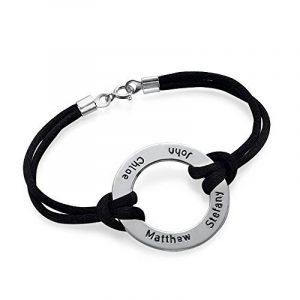 Bracelet Noir cercle infini avec 4 prénoms en Argent ! de la marque Bijoux Personnalisés image 0 produit