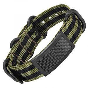 Bracelet noir Willis Judd pour homme, en tissu et acier, incrusté d'éléments en fibre de carbone, livré dans boîte cadeau de la marque Willis Judd image 0 produit