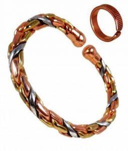 Bracelet pour Homme ou Femme Magnétique Torsadé en Cuivre, Laiton et Aluminium + Bague - Bague M : 19-21mm de la marque The Online Bazaar image 0 produit