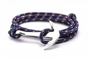 BS - Bracelet Ancre Marine - Mixte - Cordage de Voile & Ancre en Métal Argenté de la marque BS image 0 produit