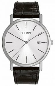 Bulova Classic 96B104 - Montre-bracelet de créateur pour homme - élégante - acier/bracelet en cuir - noir de la marque Bulova image 0 produit
