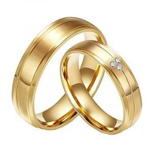 CARTER PAUL CZ en acier inoxydable plaqué or 18 carats de diamant Bague de bandes de mariage de couple de la marque CARTER PAUL image 0 produit