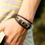Cestlafit Vintage Bracelet En Cuir De Charme, Forme X Reggae Bracelet En Cuir Pour Les Hommes, Valentine Cadeaux Pour Les Jeunes Hommes, Noir de la marque Cestlafit image 3 produit