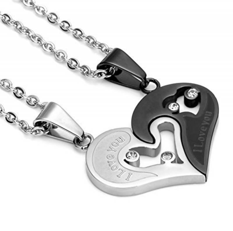 911461f2d68 Jstyle Bijoux Acier Inoxydable Collier Femme Homme pour Les Amoureux  Meilleure Amie Collier Cœur Amour Puzzle Pendentif Couple avec Zircon 55 cm  de la ...