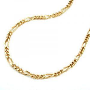 Chaîne collier figaro gourmette chaîne plaquè or 2x diamants longueur 42 cm de la marque unbespielt image 0 produit