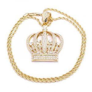 Chaîne Collier pour homme Plaqué or Pendentif Couronne avec diamants Mode de la marque Look Real Jewellery image 0 produit