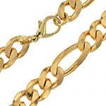 Chaine Figaro 18ct Or Doublé, 13 mm Longueur au choix, femme homme bijoux collier directement à partir de italien usine tendenze de la marque tendenze-ITALY image 1 produit