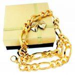 Chaine Figaro 18ct Or Doublé, 13 mm Longueur au choix, femme homme bijoux collier directement à partir de italien usine tendenze de la marque tendenze-ITALY image 2 produit
