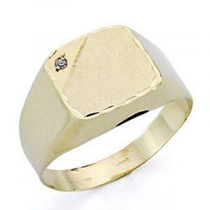 Chevalière Chevalier zircons en or 18 carats creux [7522GR] - personnalisable - ENREGISTREMENT inclus dans le prix de la marque Inmaculada Romero TM image 0 produit