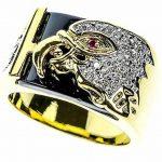 Chevaliere homme or blanc avec diamant, le top 13 TOP 8 image 1 produit