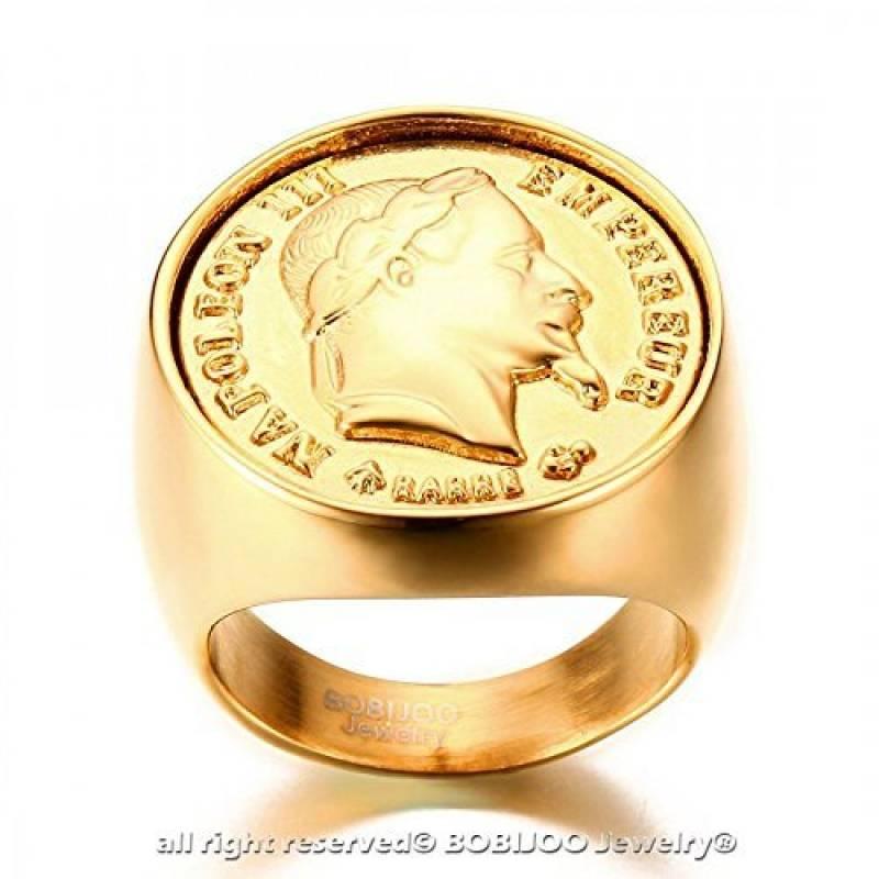 b0c540be14e BOBIJOO Jewelry - Chevalière Bague Dorée Or Fin Massive Ronde Pièce 20  Francs NAPOLEON Tête Laurée de la marque BOBIJOO Jewelry