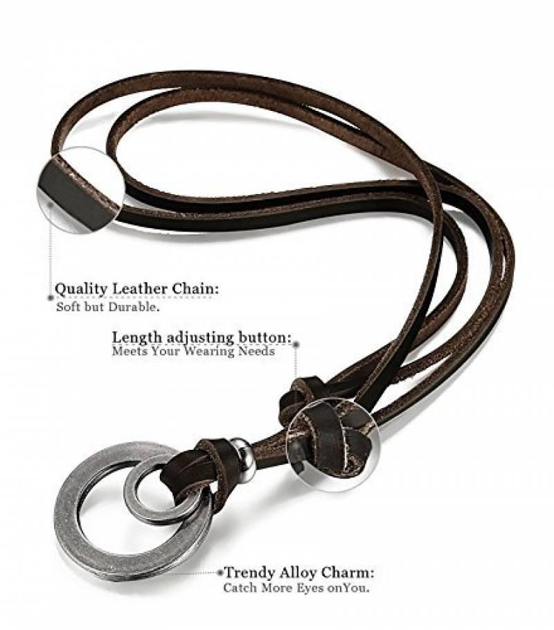 collier laniere cuir femme