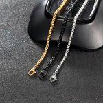 Collier pour Homme PROSTEEL Chaîne de Cou Vendue Seule Maille Vénitienne Arrondie Bijoux Fashion en Acier Inoxydable/Plaqué Or/Plaqué en Métal Noir - 8 Tailles au Choix de 46-81cm/3MM de Largeur de la marque PROSTEEL image 2 produit