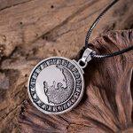 Collier Viking style rétro, nouveau pendentif tête de loup nordique pour homme - Réglable - Les loups de l'étain d'Odin loup Rune norvégien bijoux de la marque PoFo image 1 produit
