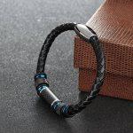COOLMAN Bracelet en Cuir pour Homme Bracelet en Manche Tressé en Acier Inoxydable avec Fermoir en Fibre de Carbone Fermeture Magnétique 8.5 Pouces de la marque COOLMAN image 4 produit