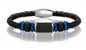 a85738e0101 COOLMAN Bracelet en Cuir pour Homme Bracelet en Manche Tressé en Acier  Inoxydable avec Fermoir en Fibre de Carbone Fermeture Magnétique 8.5 Pouces  de la ...