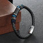 COOLMAN Bracelet en Cuir pour Homme Bracelet en Manche Tressé en Acier Inoxydable avec Fermoir en Fibre de Carbone Fermeture Magnétique 8.5 Pouces de la marque COOLMAN image 2 produit