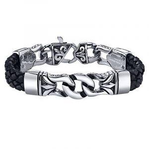 Coolman Bracelet en Cuir Tressé en Acier Inoxydable noir Bracelet Croisé 8.8 Pouces Pour Hommes Femmes de la marque COOLMAN image 0 produit