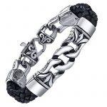 Coolman Bracelet en Cuir Tressé en Acier Inoxydable noir Bracelet Croisé 8.8 Pouces Pour Hommes Femmes de la marque COOLMAN image 1 produit