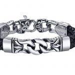 Coolman Bracelet en Cuir Tressé en Acier Inoxydable noir Bracelet Croisé 8.8 Pouces Pour Hommes Femmes de la marque COOLMAN image 2 produit