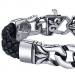 Coolman Bracelet en Cuir Tressé en Acier Inoxydable noir Bracelet Croisé 8.8 Pouces Pour Hommes Femmes de la marque COOLMAN image 3 produit