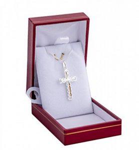 croix catholique ouvragée large heute de 3cm en argent massif 925 collier avec pendentif et chaine 50cm incluse pour homme avec boite coffret de la marque ASCALIDO image 0 produit