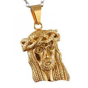 Cupimatch Luxe Doré en acier inoxydable Jésus Médaille miraculeuse religieux Pendentif Collier avec chaîne de 55,9cm de cadeau de Noël pour homme femme de la marque Cupimatch image 0 produit